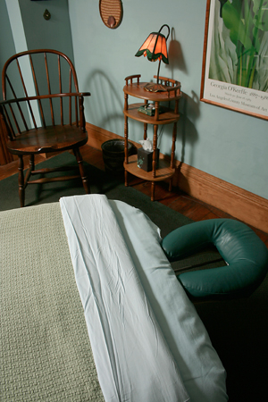 Rest your head on this comfortable massage table pillow at Syracuse Massage Therapy.